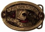 Six Shooter Beats Four Aces Belt Buckle + display stand